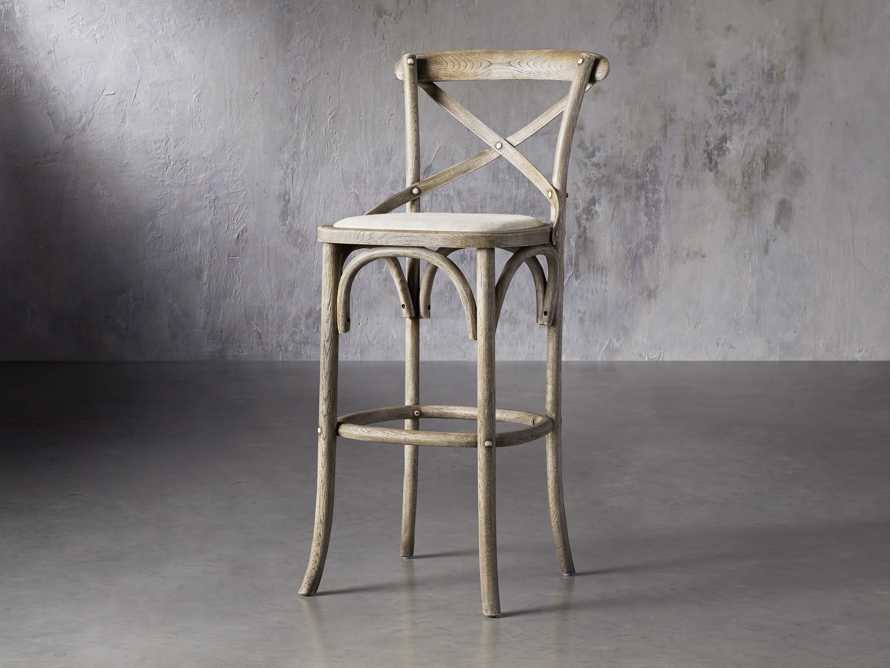 Cadence Barstool with Linen Seat in Stone Vintage, slide 2 of 6