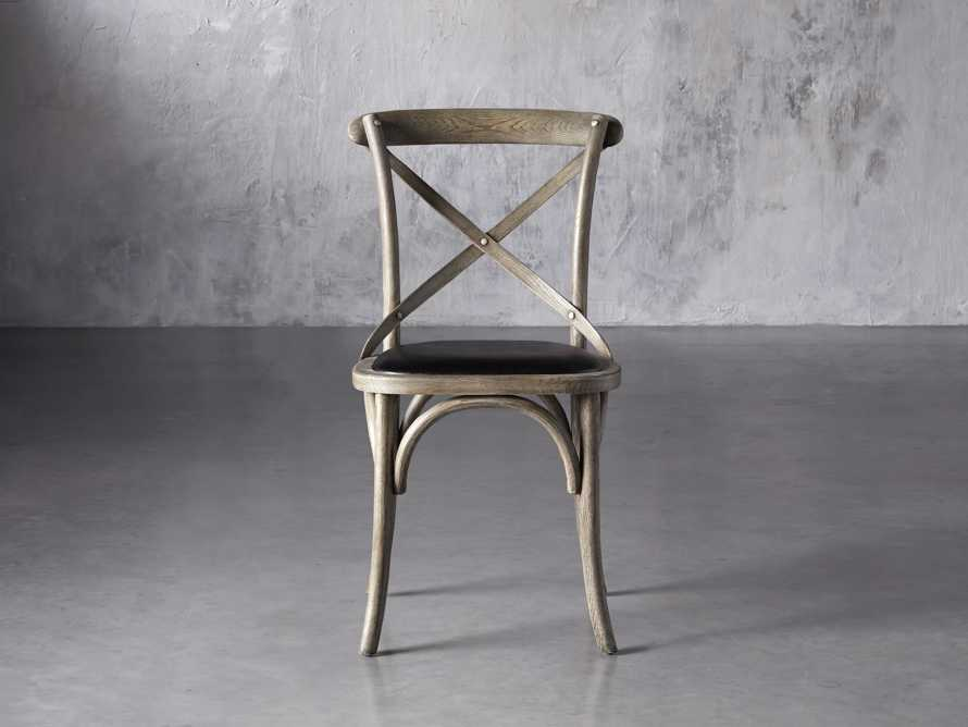 """Cadence 20"""" Dining Side Chair with Faux Black Leather Seat in Stone Vintage, slide 1 of 8"""
