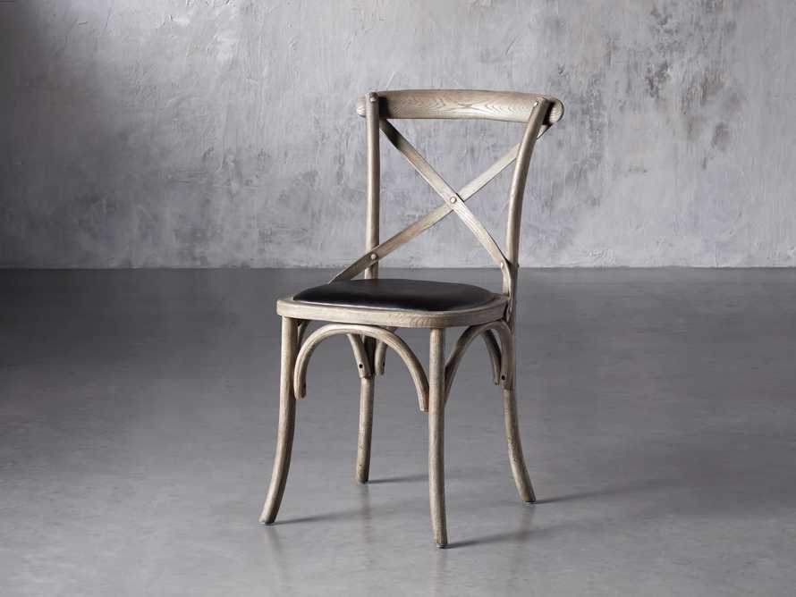 """Cadence 20"""" Dining Side Chair with Faux Black Leather Seat in Stone Vintage, slide 2 of 8"""