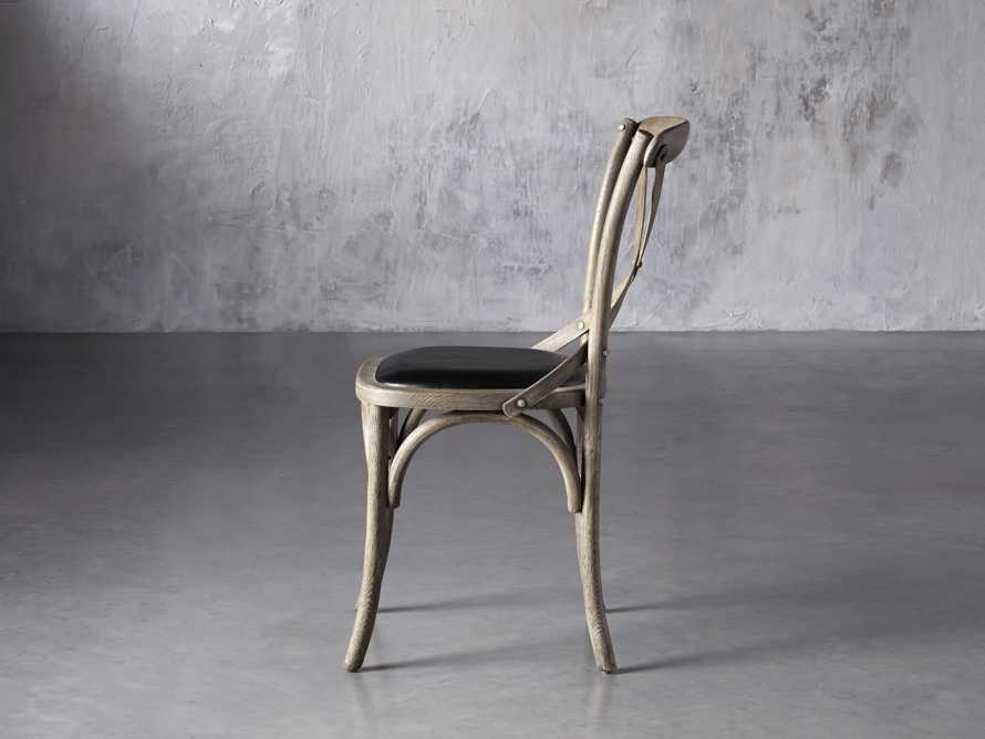 """Cadence 20"""" Dining Side Chair with Faux Black Leather Seat in Stone Vintage, slide 4 of 8"""