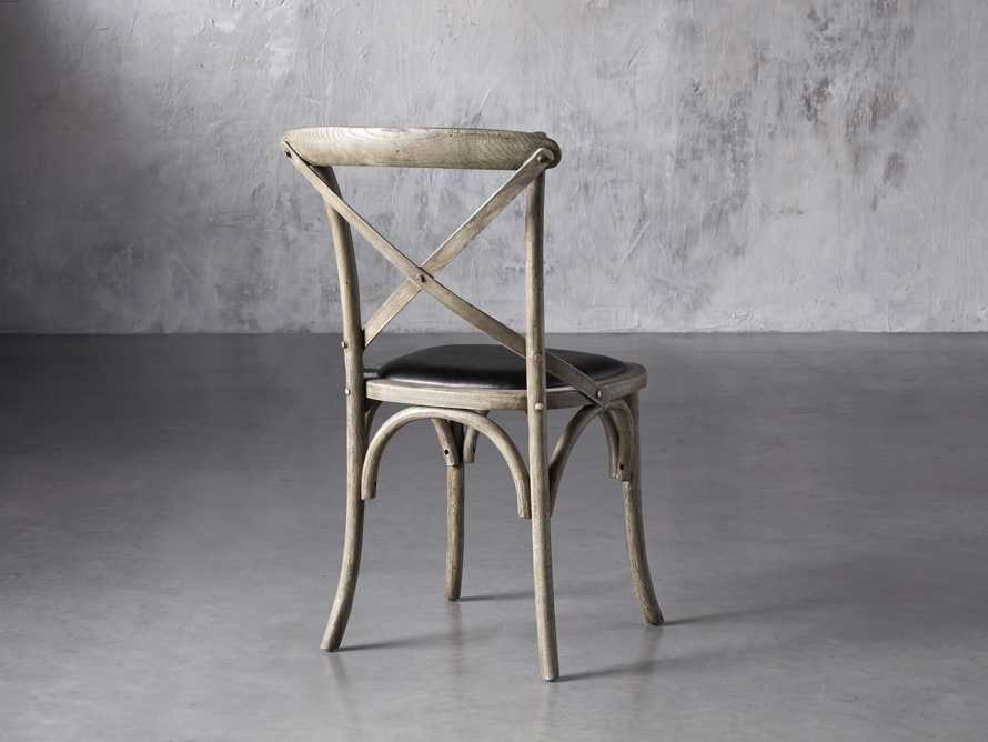 """Cadence 20"""" Dining Side Chair with Faux Black Leather Seat in Stone Vintage, slide 3 of 8"""