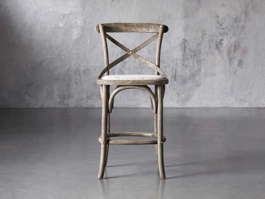 Cadence Counter Stool with Linen Seat in Stone Vintage, slide 1 of 8