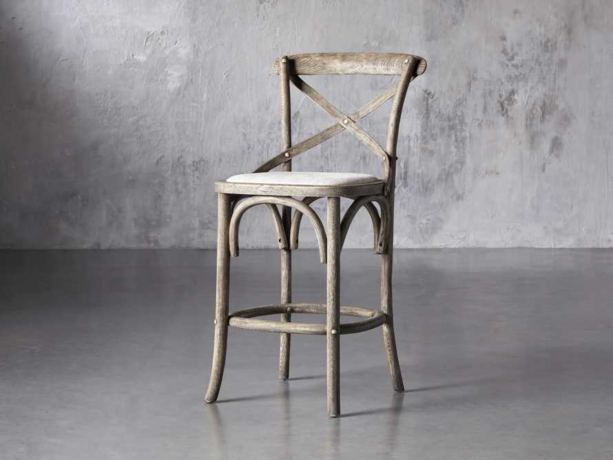 Cadence Counter Stool with Linen Seat in Stone Vintage, slide 2 of 8