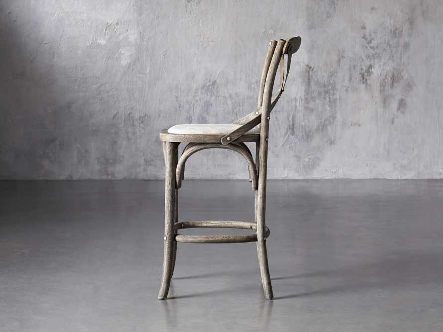 Cadence Counter Stool with Linen Seat in Stone Vintage, slide 3 of 8