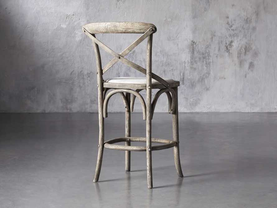 Cadence Counter Stool with Linen Seat in Stone Vintage, slide 4 of 8