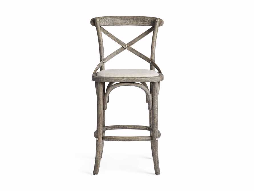 Cadence Counter Stool with Linen Seat in Stone Vintage, slide 7 of 8