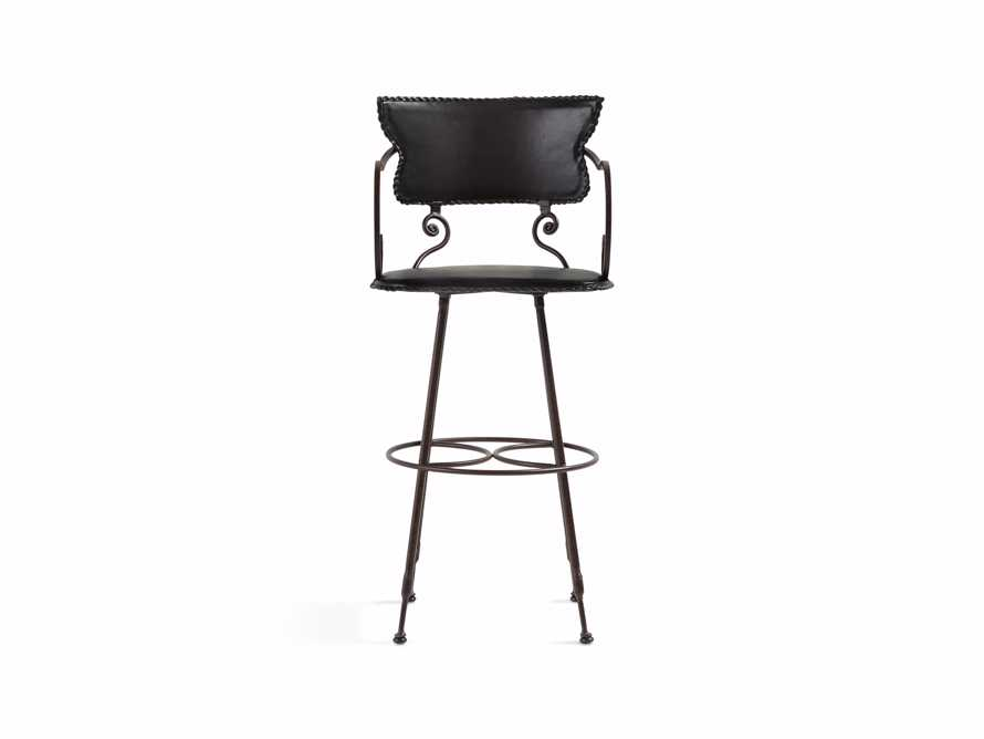"Cafe Leather 20"" Iron Swivel Bar Stool"