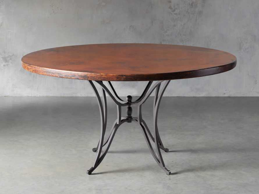"Copper 60"" Round Table Top With Kenya Dining Base, slide 1 of 4"