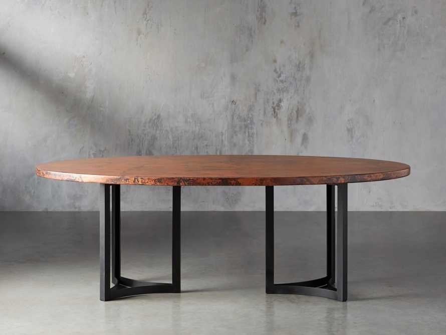 "77"" x 44"" Copper Table with Lyon Base in Black, slide 3 of 10"