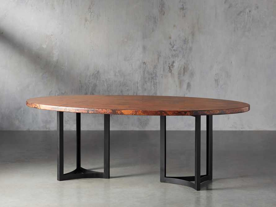"77"" x 44"" Copper Table with Lyon Base in Black, slide 4 of 10"
