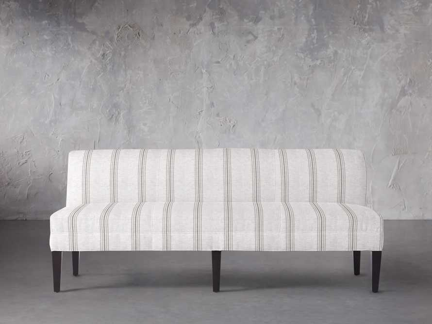 "Eaton (No Toss Pillow) Upholstered Non-Tufted 80"" Settee in Suntory Stone, slide 1 of 4"