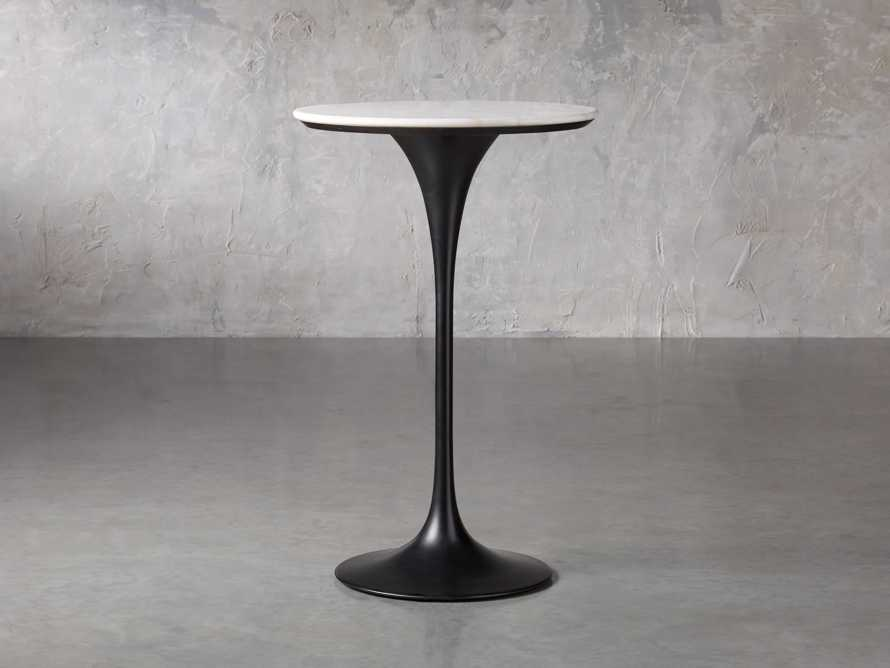"""Enzo 28"""" Round White Marble Bar Table, slide 2 of 10"""