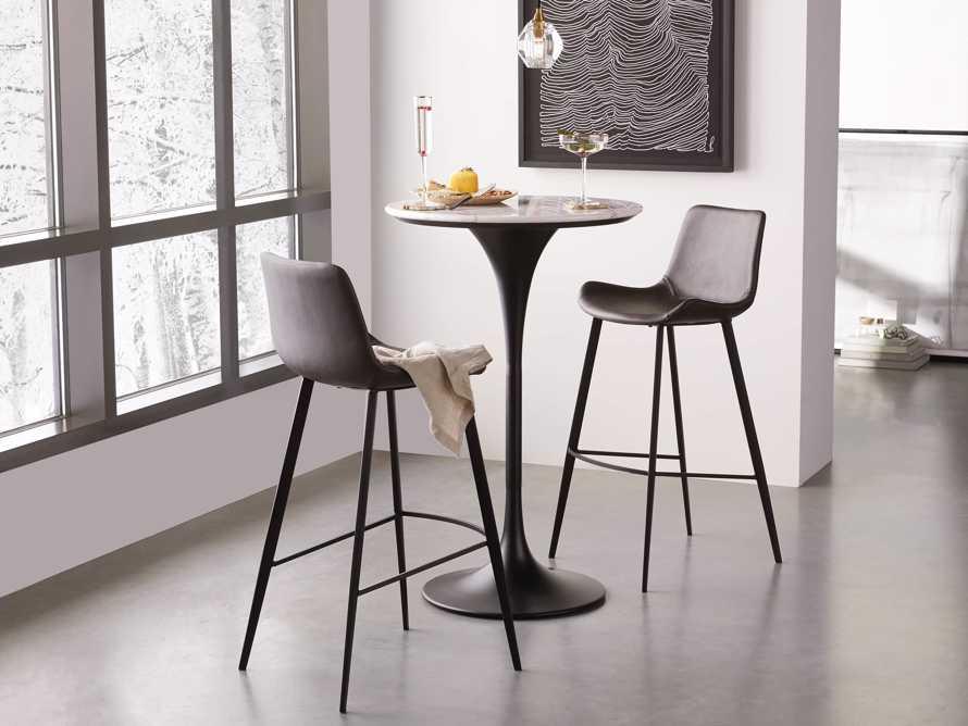 """Enzo 28"""" Round White Marble Bar Table, slide 1 of 10"""