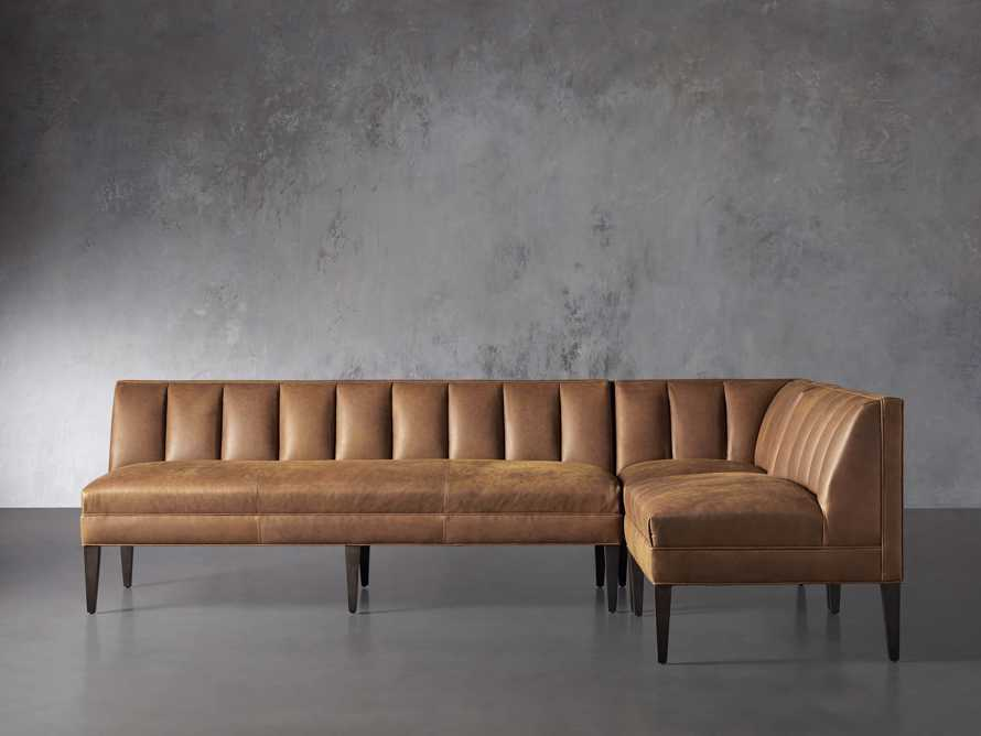 """Gates Leather 119"""" Banquette in Lukas Pecan, slide 1 of 7"""