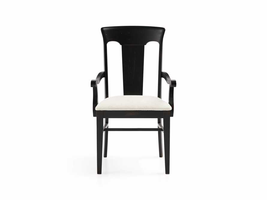 "Holmes 22"" Dining Arm Chair With Upholstered Seat In Aged Black"