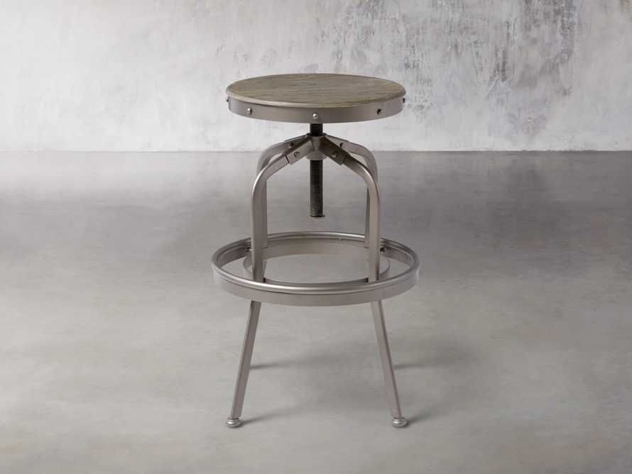 "Industrial 19"" Backless Stool in Metallic Grey and Silver Oak"