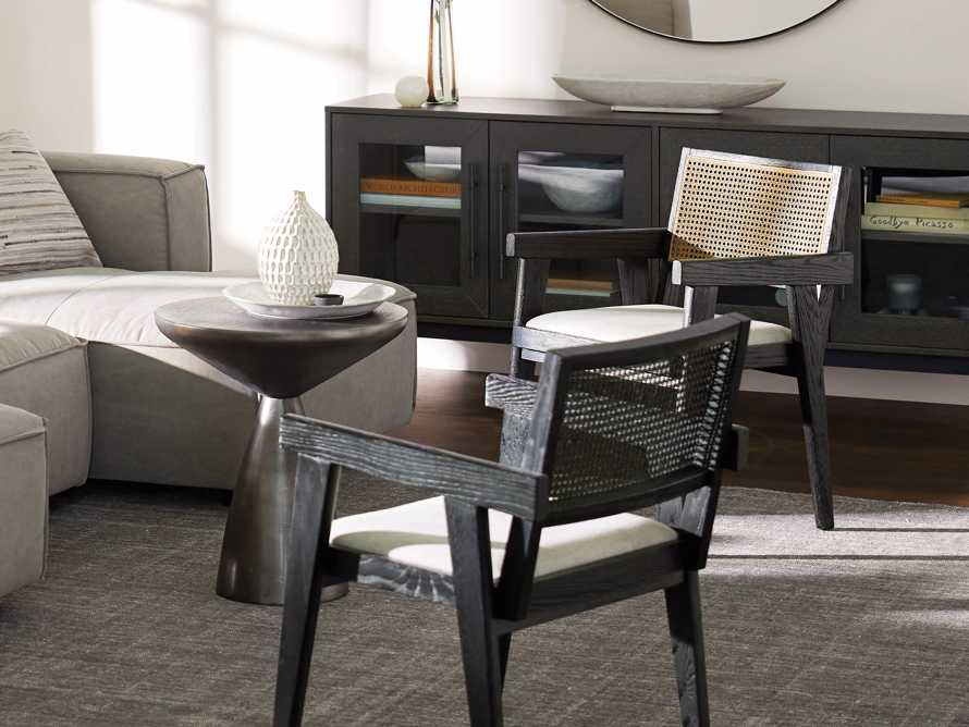 Kroy Cane Back Arm Chair in Black Drifted with Natural Linen seat, slide 1 of 9