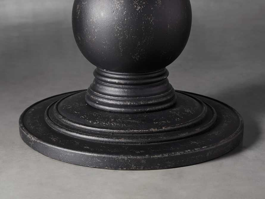 """Luca 39"""" Round Pedestal Dining Table With Bluestone Top In Rustic Black"""