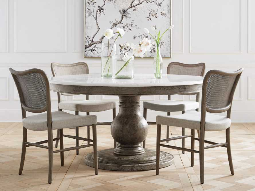 """Luca 39"""" Round Dining Table with White Marble Top in Rustic Grey, slide 6 of 7"""