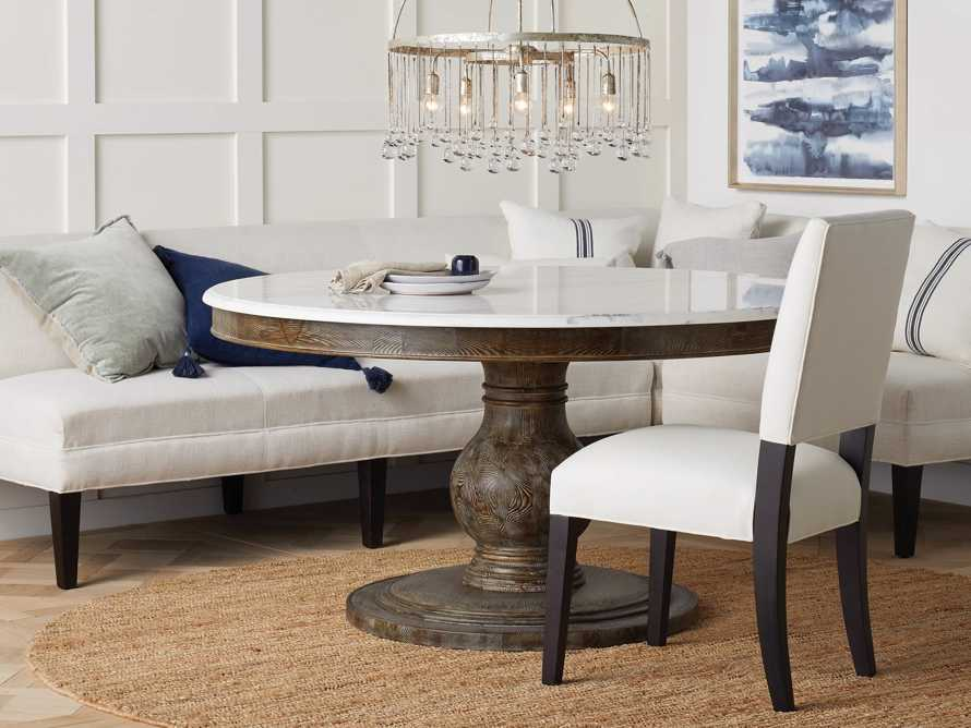 """Luca 60"""" Round Pedestal Dining Table with White Marble Top in Earl Black, slide 1 of 9"""