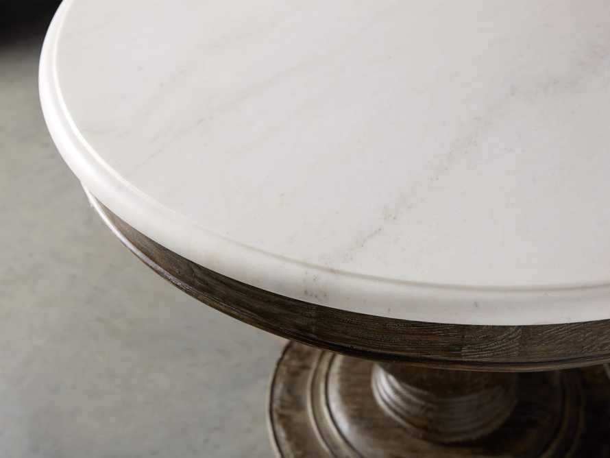 """Luca 60"""" Round Pedestal Dining Table with White Marble Top in Earl Black, slide 3 of 9"""