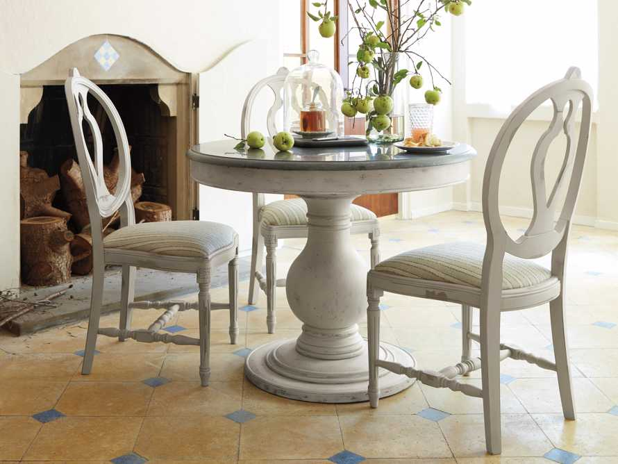 """Luca 39"""" Round Pedestal Dining Table With Bluestone Top In Rustic White, slide 4 of 10"""