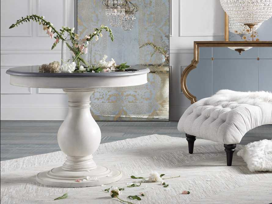 """Luca 39"""" Round Pedestal Dining Table With Bluestone Top In Rustic White, slide 1 of 9"""
