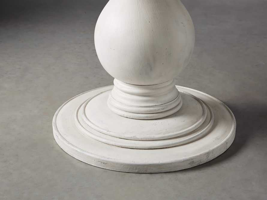 """Luca 39"""" Round Dining Table with White Marble Top in Rustic White, slide 2 of 8"""