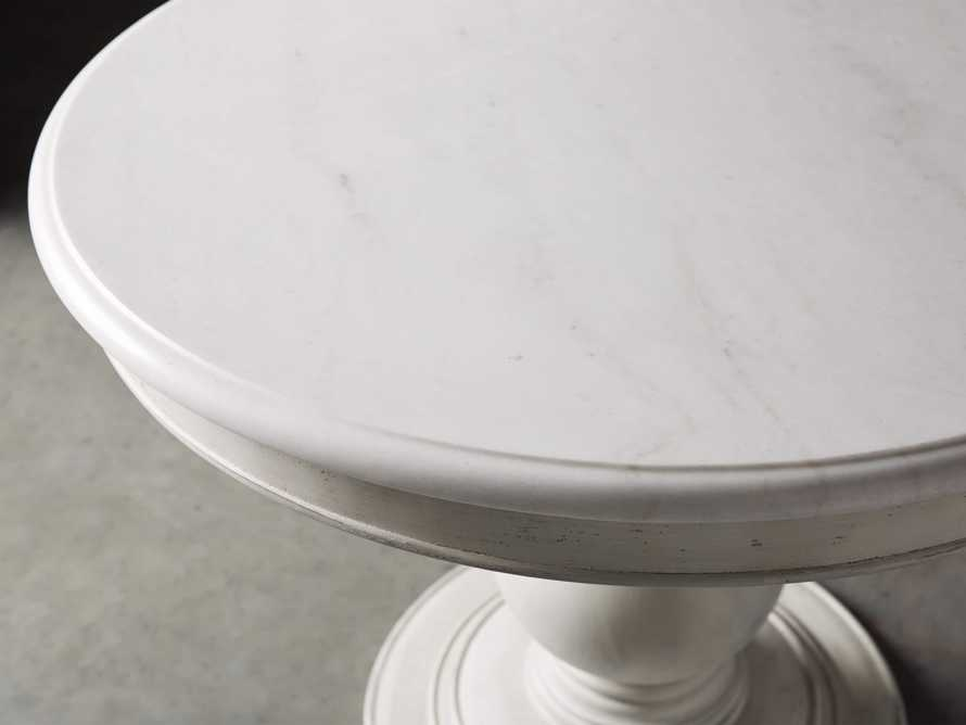 "Luca 39"" Round Dining Table with White Marble Top in Rustic White, slide 3 of 8"