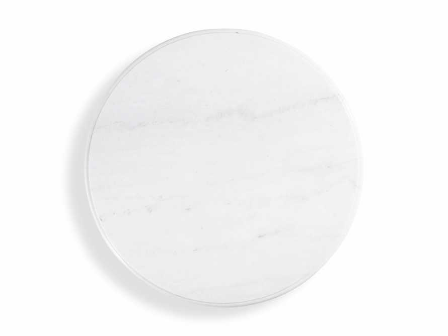 "Luca 39"" Round Dining Table with White Marble Top in Rustic White, slide 4 of 8"