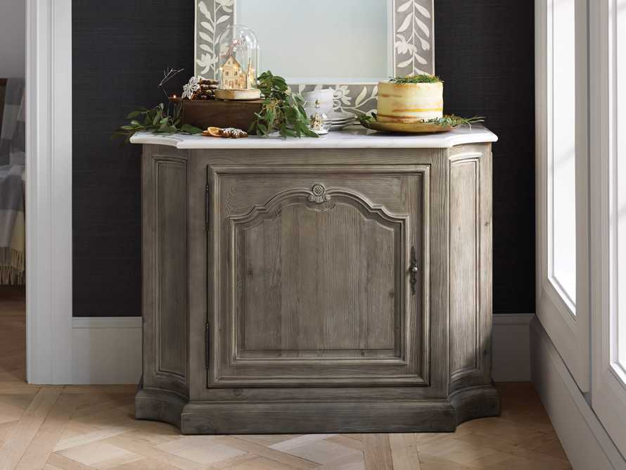 Luca Buffet with White Marble Top in Rustic Grey, slide 1 of 10