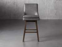 Lunden Faux Leather Swivel Barstool in Faux Charcoal