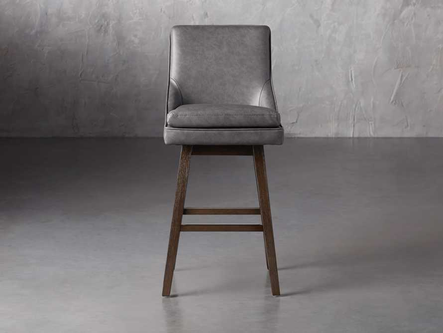 Lunden Faux Leather Swivel Barstool in Faux Charcoal, slide 1 of 8