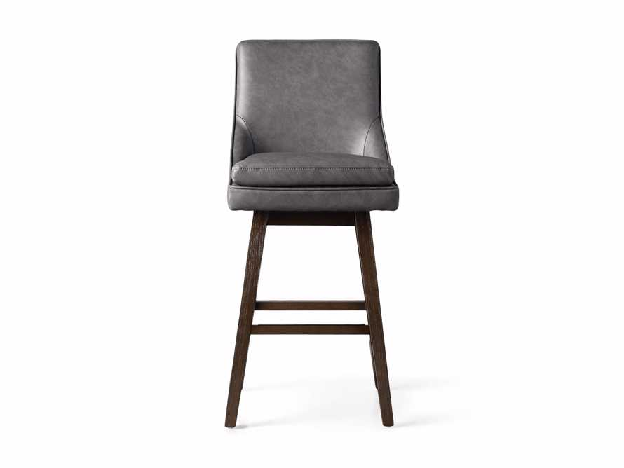 Lunden Faux Leather Swivel Barstool in Faux Charcoal, slide 7 of 8