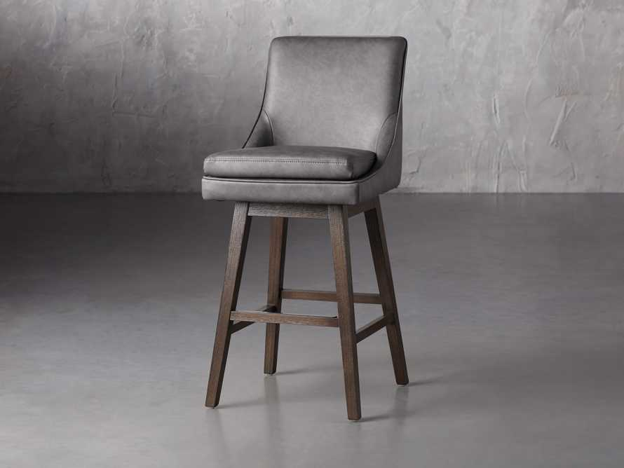 Lunden Faux Leather Swivel Barstool in Faux Charcoal, slide 2 of 8