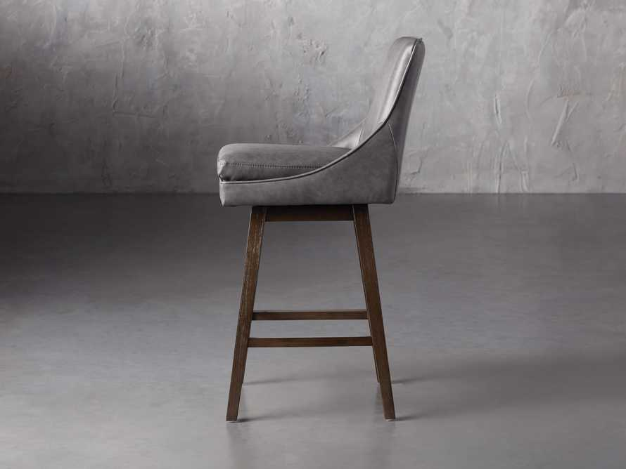 Lunden Faux Leather Swivel Barstool in Faux Charcoal, slide 3 of 8