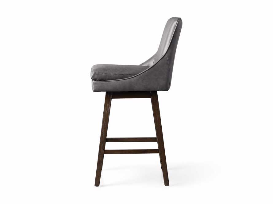 Lunden Faux Leather Swivel Barstool in Faux Charcoal, slide 8 of 8