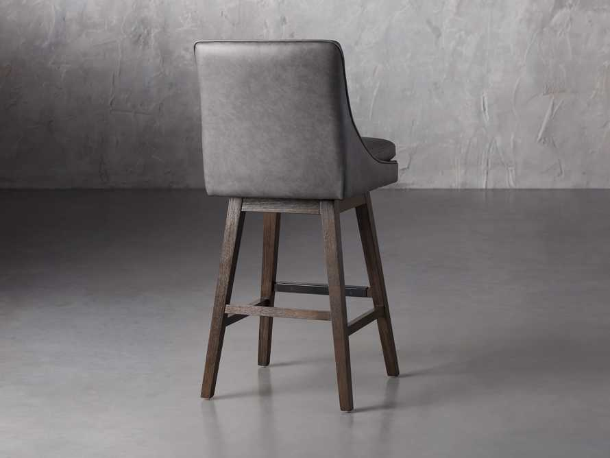 Lunden Faux Leather Swivel Barstool in Faux Charcoal, slide 4 of 8