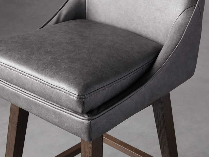 Lunden Faux Leather Swivel Barstool in Faux Charcoal, slide 6 of 8