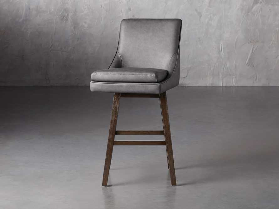Lunden Faux Leather Swivel Barstool in Faux Charcoal, slide 5 of 8