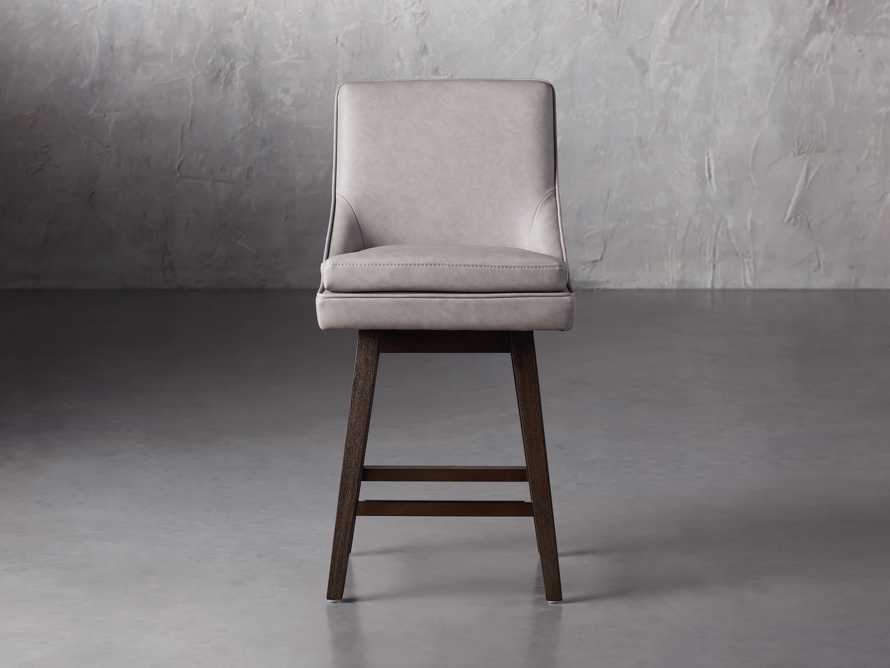 """Lunden Faux Leather 19"""" Swivel Counter Stool in Faux Drift, slide 1 of 8"""