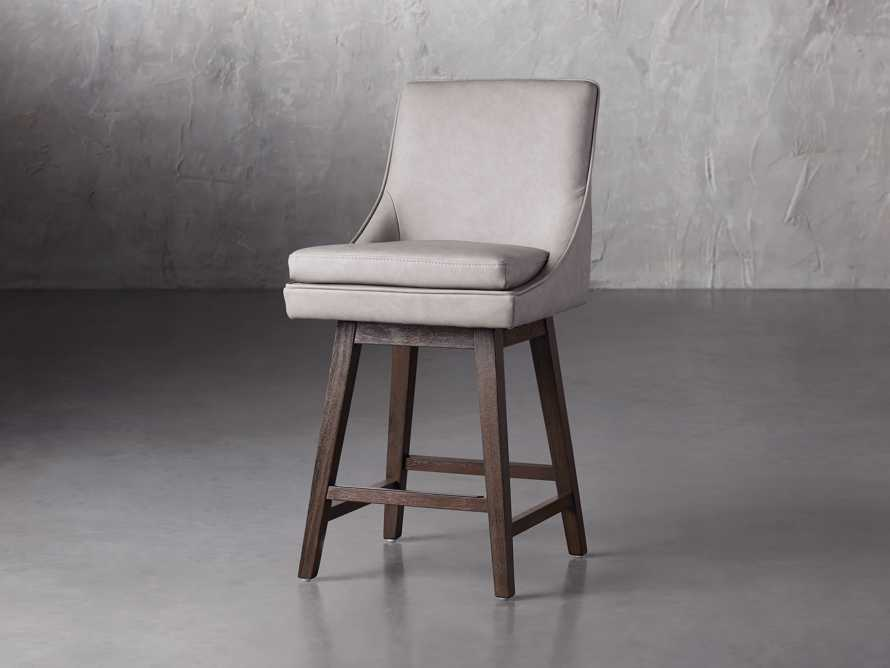"""Lunden Faux Leather 19"""" Swivel Counter Stool in Faux Drift, slide 2 of 8"""