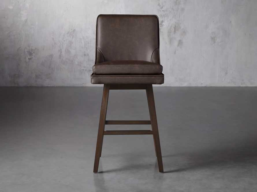 "Lunden Faux Leather 19"" Swivel Barstool in Faux Espresso, slide 1 of 6"