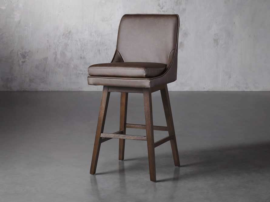 "Lunden Faux Leather 19"" Swivel Barstool in Faux Espresso, slide 2 of 6"