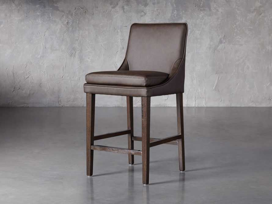 Lunden Faux Leather Counterstool in Espresso, slide 2 of 6