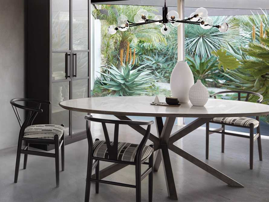"Meridian 79"" White Marble Dining Table, slide 1 of 8"