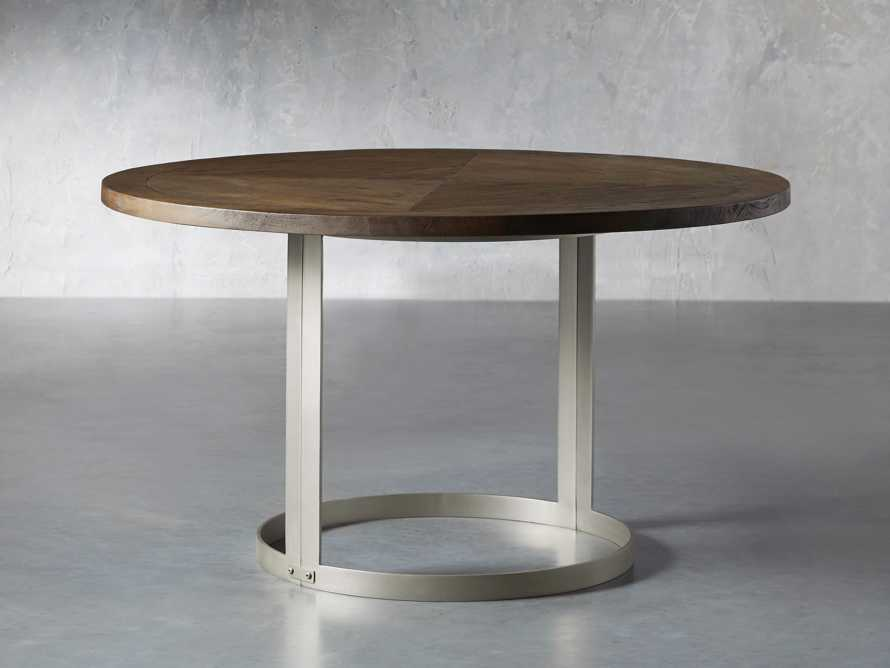 """Nobelle 60"""" Round Weathered Mango Dining Table With Wells Base in Antique Pewter"""