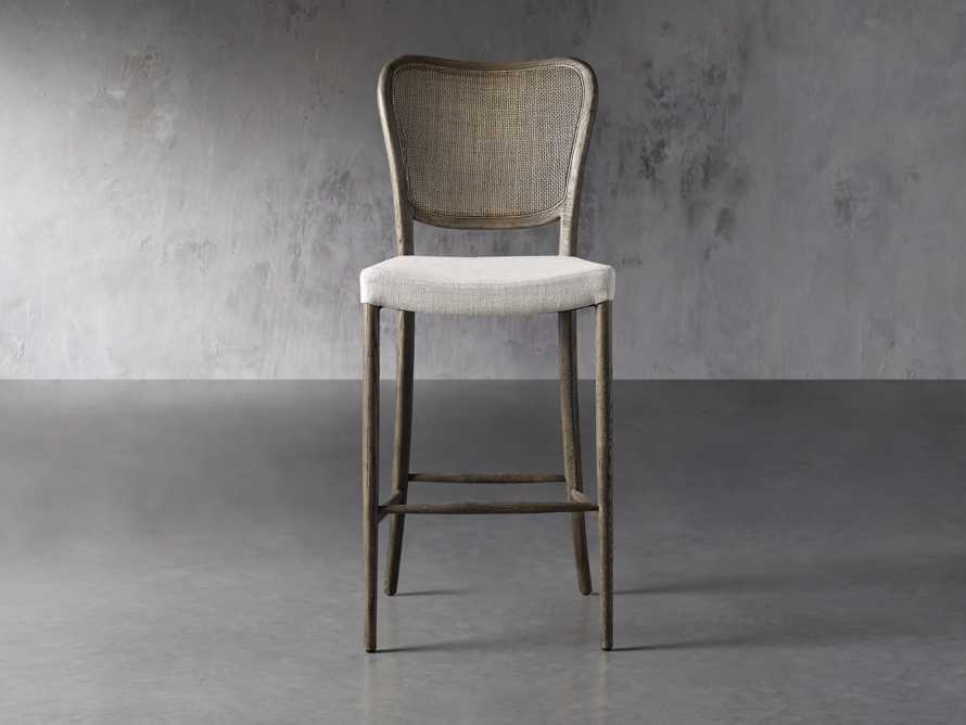 Noa Barstool in Cinder with Linen Natural seat, slide 1 of 7