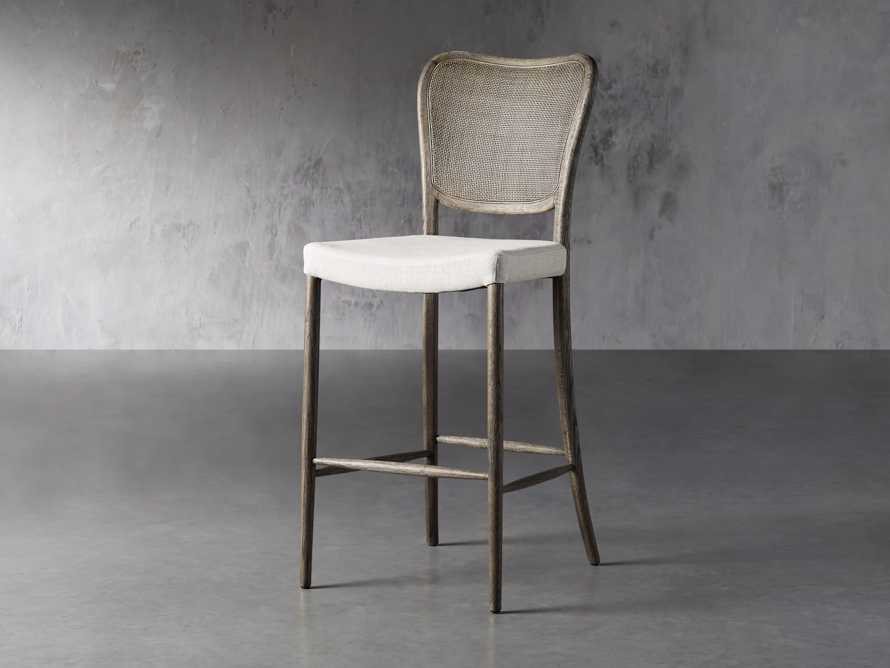 Noa Barstool in Cinder with Linen Natural seat, slide 2 of 7