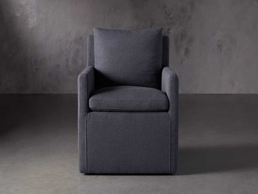 Oscar Upholstered Dining Arm Chair in Zona Jeans, slide 1 of 7